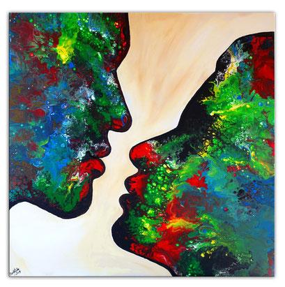 F 77 Malerei der Kuss Gesichter blau grün