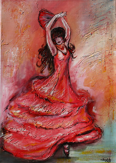 F 56 - Figuerliche Malerei - Figurative Wandbilder - Flamenco Tänzerin