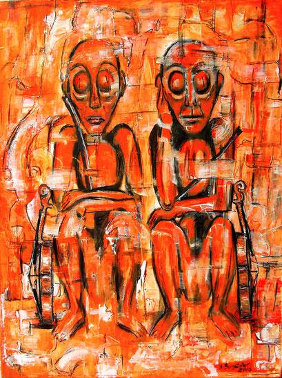 F 54- Figuerliche Malerei - Figurative Wandbilder - Schweigend
