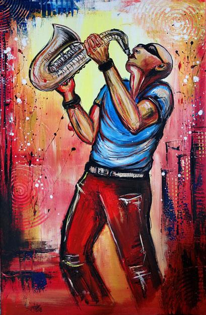 F 47 - Figuerliche Malerei - Figurative Wandbilder - Saxophon Spieler