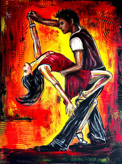 F 67 - Figuerliche Malerei - Figurative Wandbilder - Salsa rot gelb 2