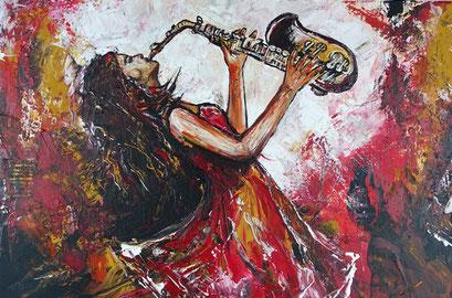 F 52 - Figuerliche Malerei - Figurative Wandbilder - Saxophon Spielerin