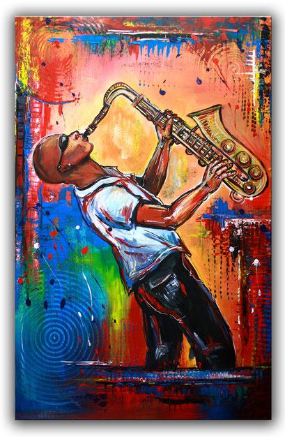 F 49 - Figuerliche Malerei - Figurative Wandbilder - Saxophonist