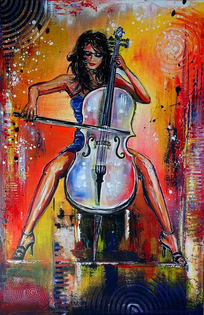 F 81 - Cellistin Cello Spielerin handgemaltes Musiker Bild Gemälde