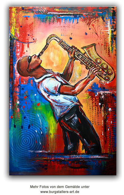 F 76 Saxophonspieler handgemalt Malerei