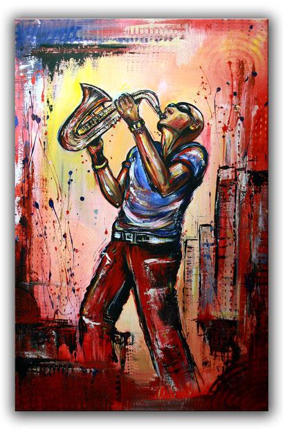 F 50 - Figuerliche Malerei - Figurative Wandbilder - Sax Player