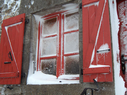 sneeuw op de ramen
