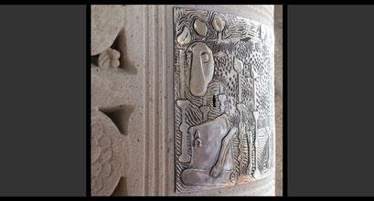 »Das Apokalyptische Lamm« (Detail) Tabernakeltür, 1965 Tabernakeltür, Treibarbeit in Silber, 1965