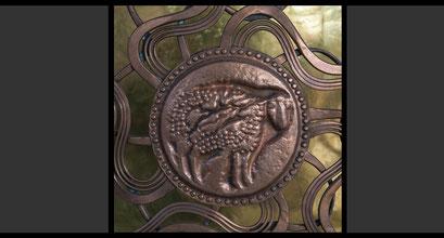 Medaillon, Treibarbeit in Kupfer (Detail), Tabernakeltür, 1967