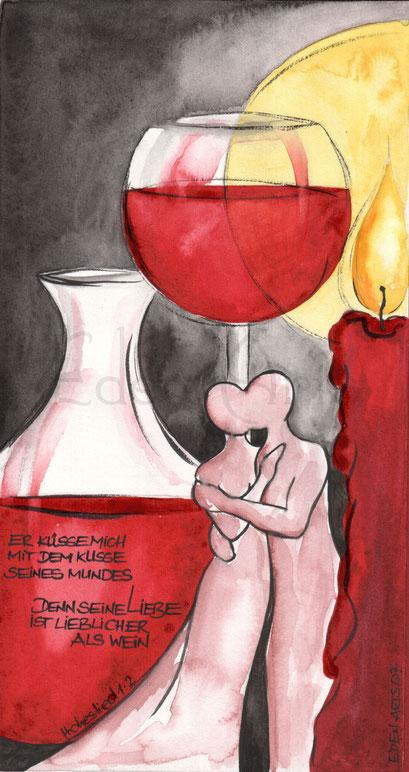 mit persönlicher Signatur 2,50€ Postkarte/ 3€ Doppelkarte auf Pappe geklebt/ liebevolle Handarbeit - Weinglas