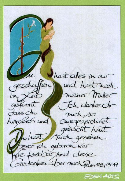 mit persönlicher Signatur 2,50€ Postkarte/ 3€ Doppelkarte auf Pappe geklebt/ liebevolle Handarbeit - Geburt Kalligraphie