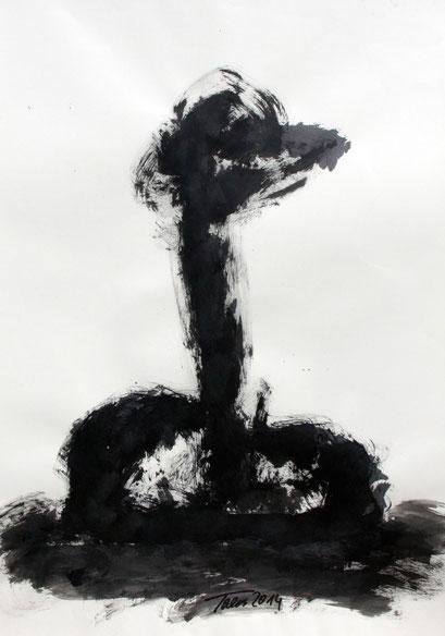 Figur Tusche auf Papier, 2014, 70x100cm