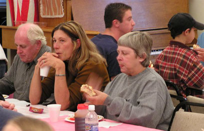 Members enjoying the food
