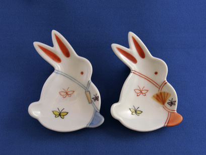*Rabbit in Kimono with Butterfly pattern (pair, red & blue)