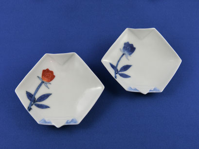 *Oteshozara rose (pair, red & blue pair)