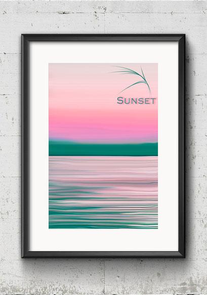 Modernes Wandbild Poster Sonnenuntergang bunt