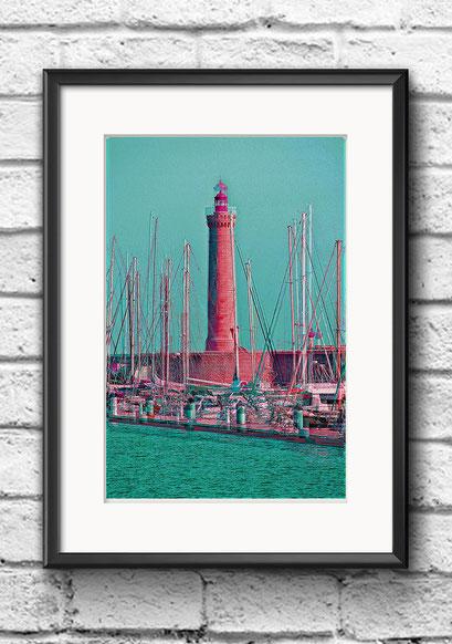 Modernes Wandbild Poster Frankreich Sete Leuchtturm bunt