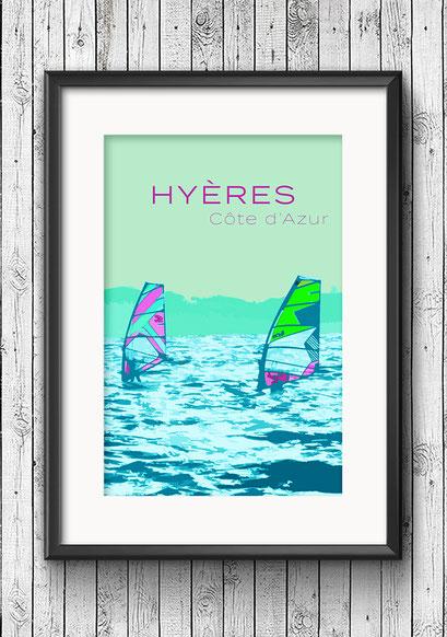 Modernes Wandbild Poster Frankreich Cote d'Azur Hyeres Surfer Meer türkis