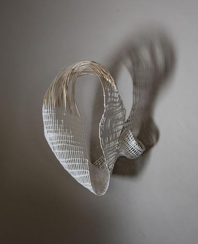 """""""Retournement en cours I"""", osier, enduit, 43 x 60 x 25 cm, 2014. Photo SJ"""