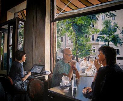 Café in Berlin Prenzlauer Berg, Acryl, 120x100cm, 2013 (verk.)