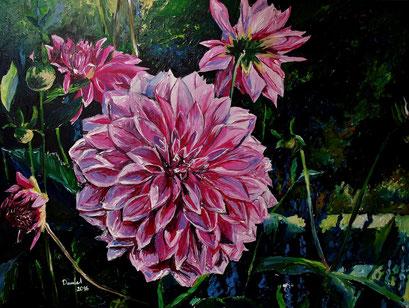 Dahlienblüte I, 80x60 cm, 2016