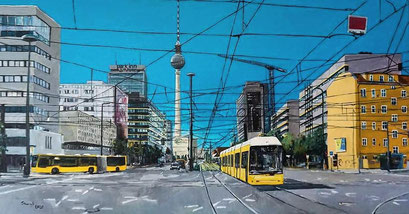 Kreuzung Torstraße/Prenzlauer Allee, Berlin, 100x50 cm, 2020