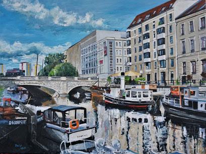 Inselbrücke, Fischerinsel, historischer Hafen Berlin, 80x60 cm, 2021