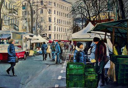Marktstände/Kollwitzmarkt, Berlin-Prenzlauer Berg, 100x70 cm, 2016