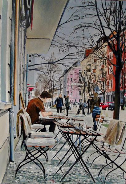 Straßencafè, Bötzow-viertel, Berlin, 70x100cm, 2014