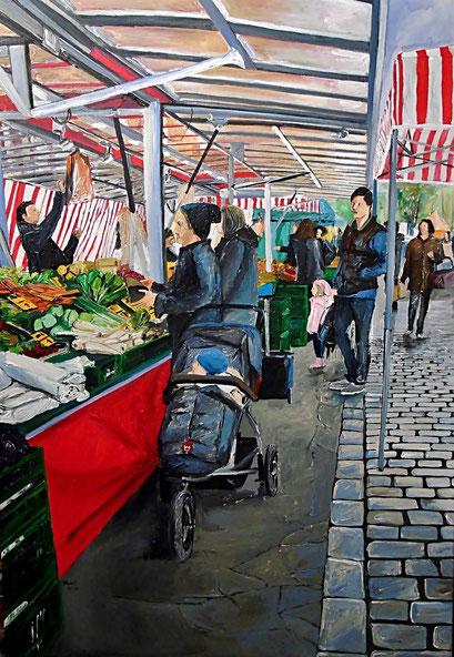 Am Gemüsestand, Kollwitzmarkt, Berlin-Prenzlauer Berg, 70x100 cm, 2017