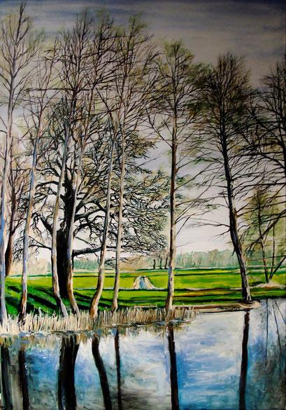 Usedom, Bäume am Graben des Wasserschloss Mellenthin, 70x100cm, 2014