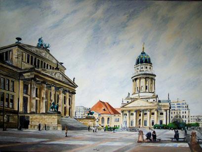 Gendarmenmarkt, Franz. Dom und Konzerthaus, 120x90cm, 2014 (leicht beschädigt)