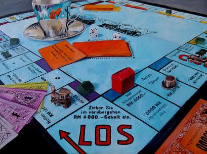 Stilleben, Monopolyspiel und Espressotasse, 80x60cm, 2013