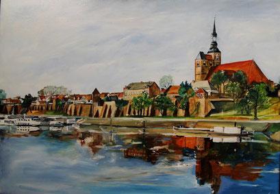 Tangermünde, St.-Stephan und Hafen, 70x50cm, 2012 (verk.)