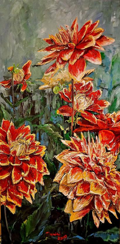 Dahlienblüte, 50x100 cm, 2019 (verk.)