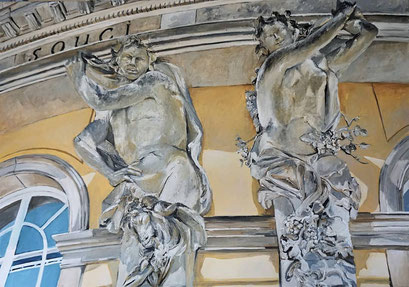 Karyatiden an der Gartenseite vom Schloss Sanssouci (III), Potsdam. 100x70 cm, 2020