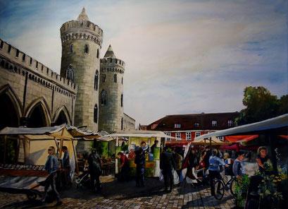 Wochenmarkt am Nauener Tor in Potsdam, 120x90cm, 2014