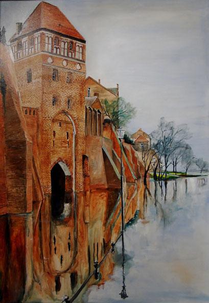 Tangermünde, Roßpforte bei Hochwasser, 70x100cm, 2012 (verk.)