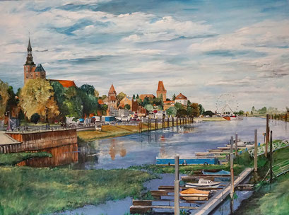 Tangermünde, Altstadtpanorama (Burgfest), 120x90 cm, 2019 (verk.)