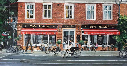 Vor dem Cafe Heider, Friedrich-Ebert-Str., Potsdam, 100x50 cm, 2020