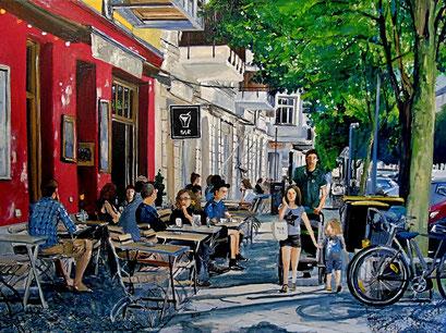 Straßencafes, Dunckerstraße, Berlin-Prenzlauer Berg, 80x60 cm, 2017 (verk.)