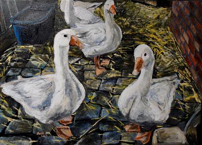 Gänse im Stall, Acryl, 70x50cm, 2014 (verk.)