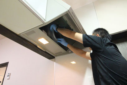 レンジフード洗浄クリーニングの様子|お掃除ハウス新潟【阿賀野市】