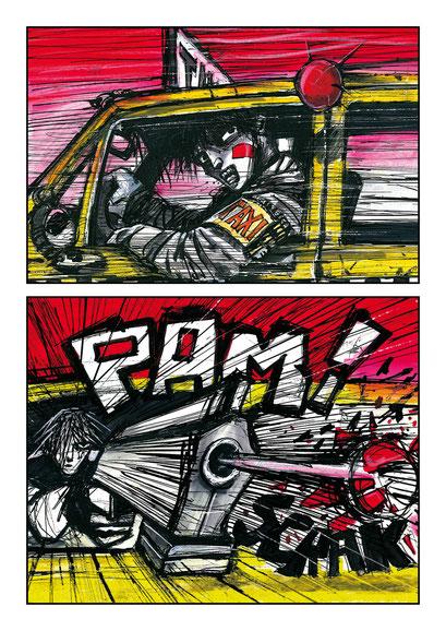 """#25# Planche originale T-1 """" Année 2011 - Encre de chine, acrylique, pastels a l'huile, crayon, feutre sur papier - Format 26x33,8"""