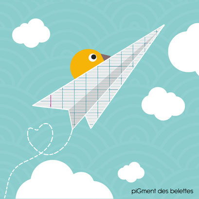 Histoire pour tout-petit : Piou rêve de s'envoler... sur un avion en papier