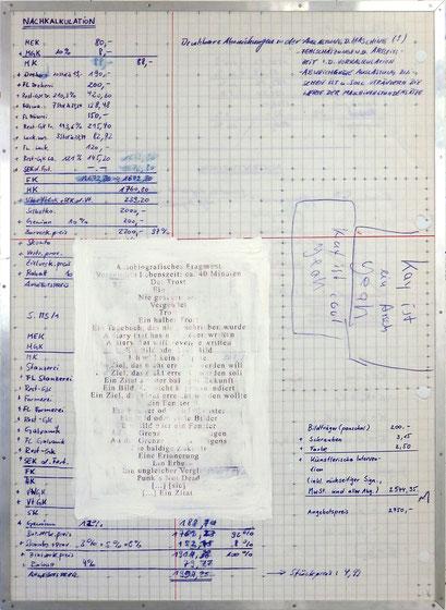 Tafel 5 – o.T.; Acryl, Transferdruck und Schrauben auf bedrucktem Papier, kaschiert auf seitlich mit Aluminium gerahmtem Holzgestell; 184,5 x 134,0 x 5,0 cm; 2015