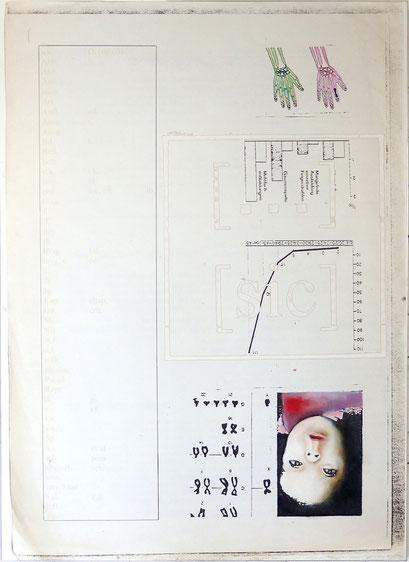 Tafel 3 – […] [sic]; Öl und Edding auf bedrucktem Papier, kaschiert auf seitlich mit Aluminium gerahmtem Holzgestell; 184,5 x 134,0 x 5,0 cm; 2015