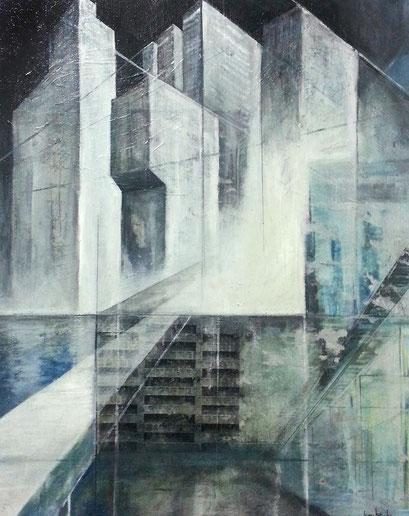 Urban Studies 008;  Mischtechnik auf Leinwand;  50 x 40 cm;  2015
