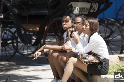 Tourismus-Studentinnen in der Pause