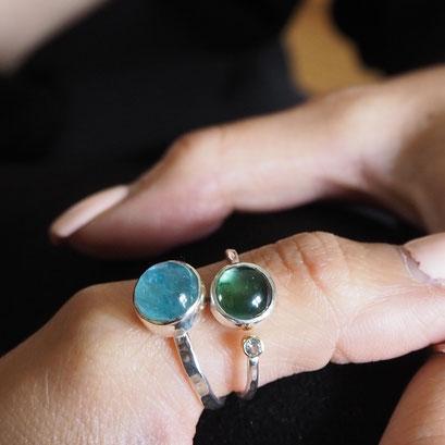 Grüner Turmalin und Aquamarin Ring